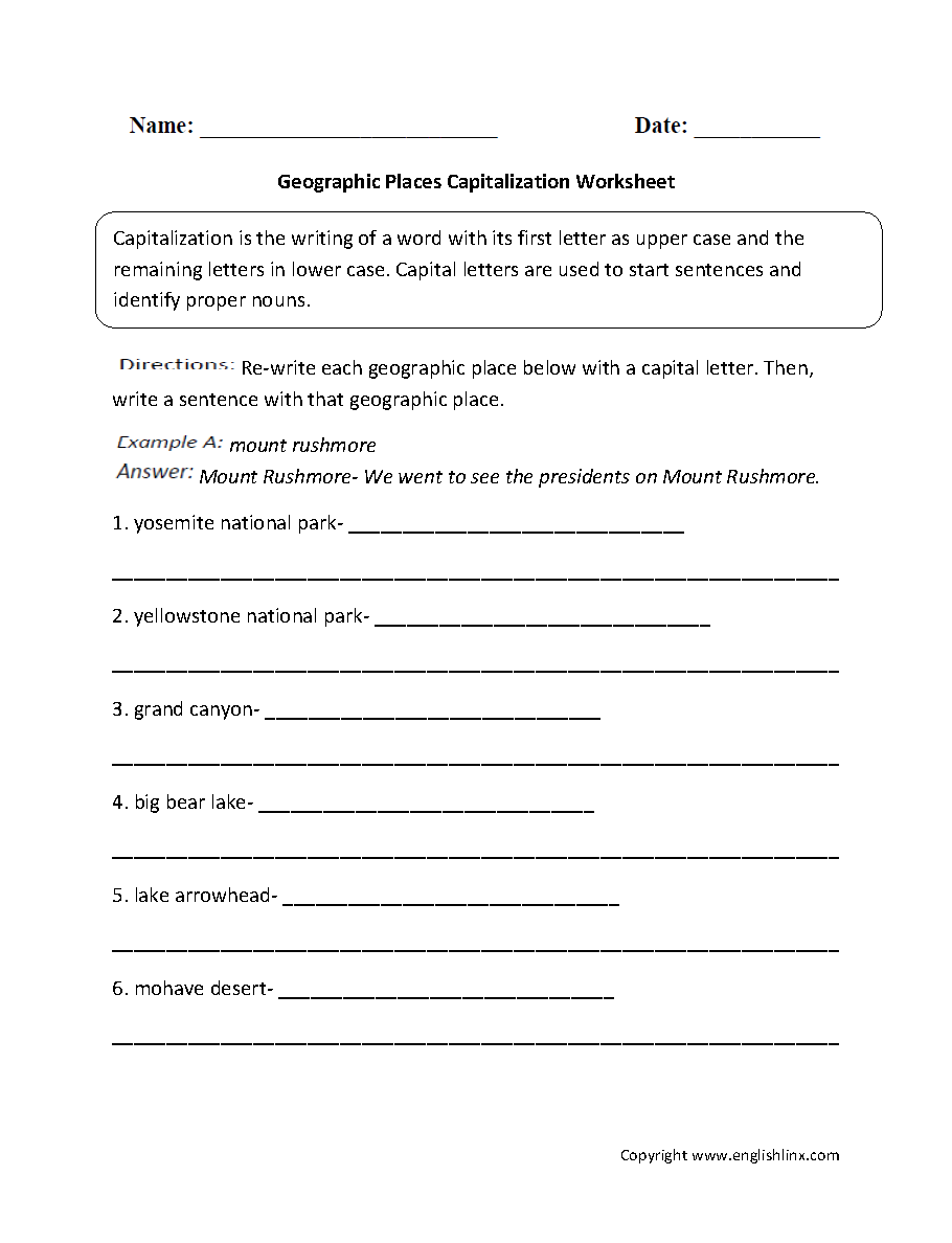 Grammar Mechanics Worksheets | Capitalization Worksheets