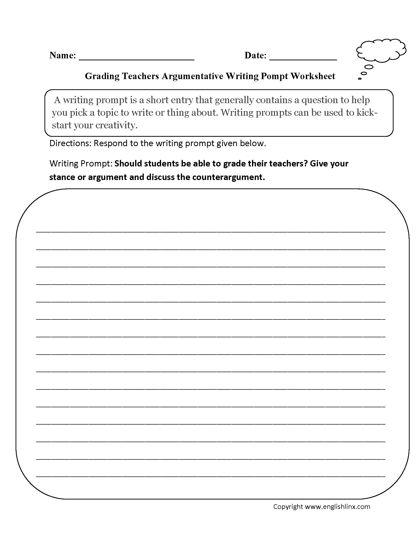 Writing Prompts Worksheets – Worksheets for Teachers