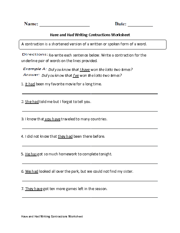 Have and Had Writing Contractions Worksheet