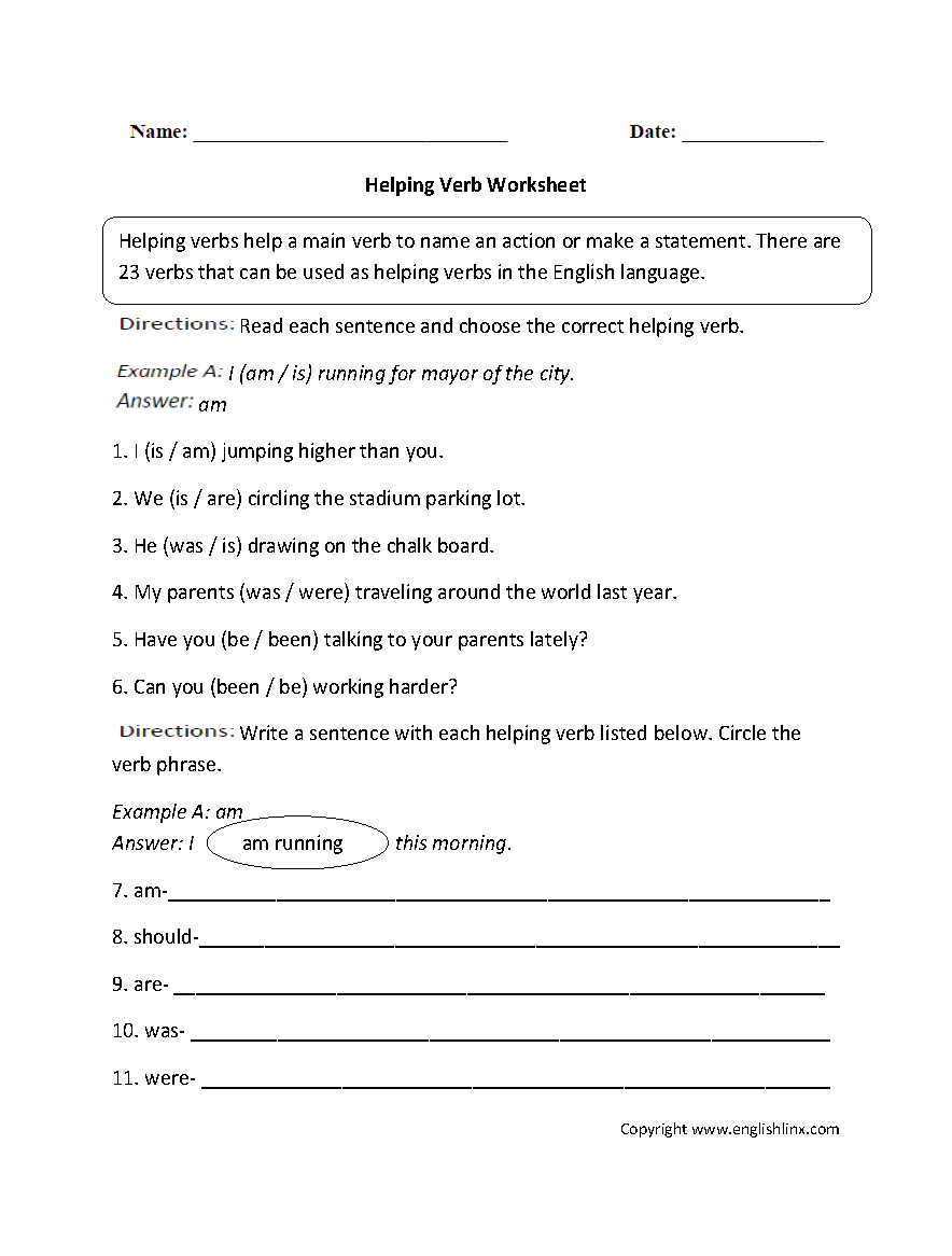 Free Worksheets Library Download and Print Worksheets – Linking Verbs Worksheet
