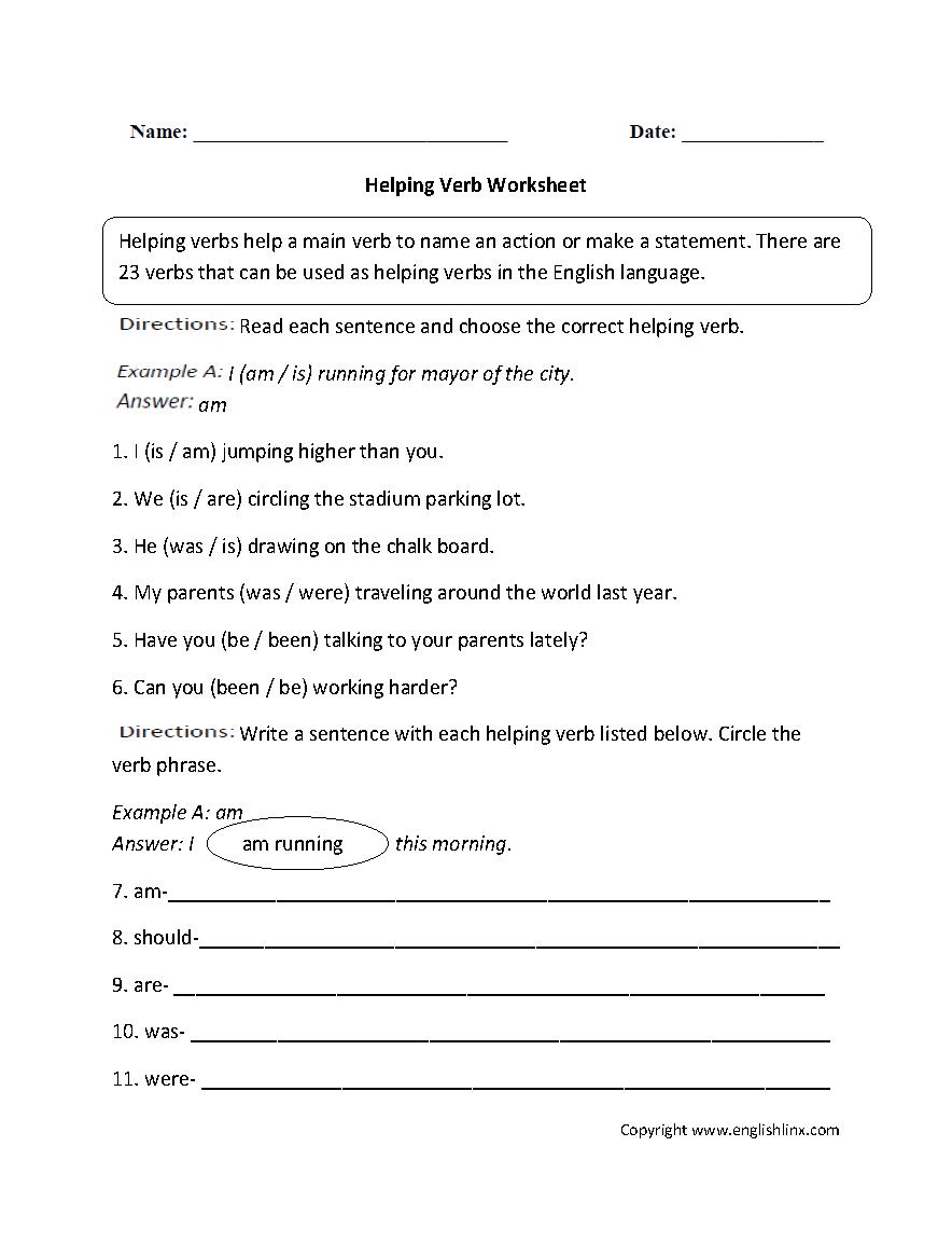 Workbooks helping verb worksheets : Helping Verbs Worksheet 3Rd Grade Free Worksheets Library ...
