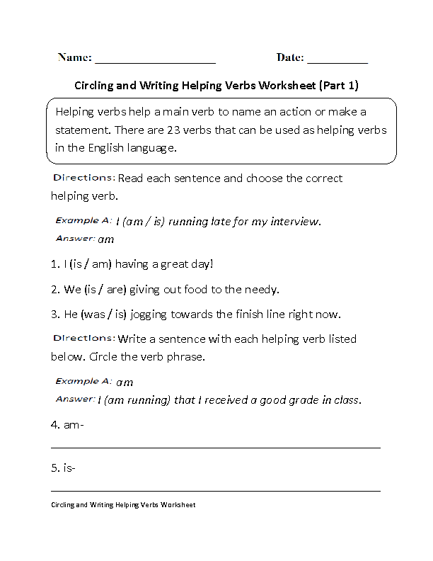 Verbs Worksheets – Main and Helping Verbs Worksheets