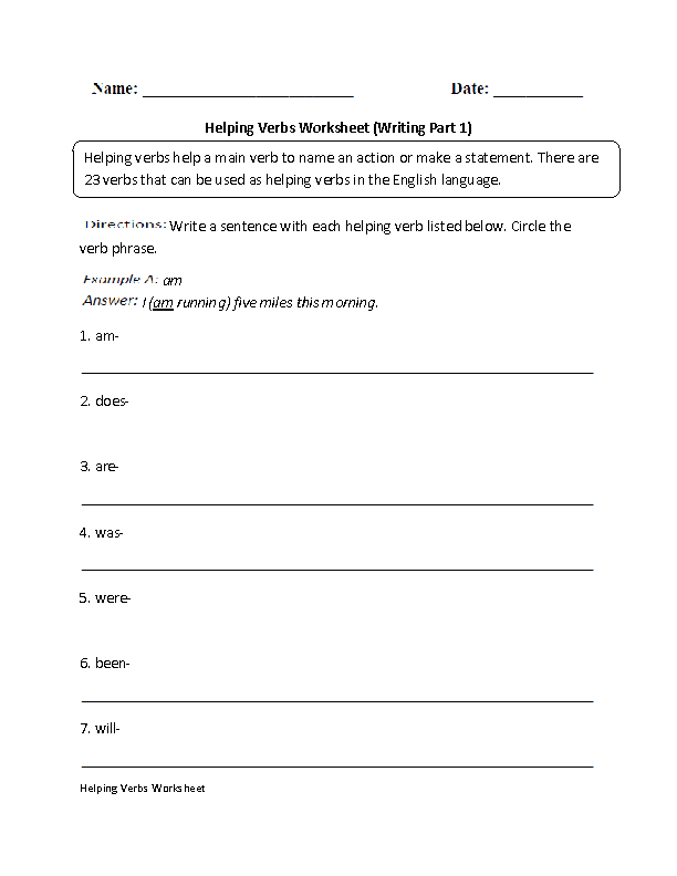 Printable Worksheets was and were worksheets for first grade : Verbs Worksheets | Helping Verbs Worksheets