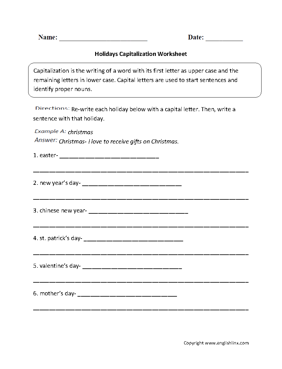 worksheet Capitalization Worksheets 4th Grade worksheet on capitalization free worksheets library download and englishlinx com worksheets