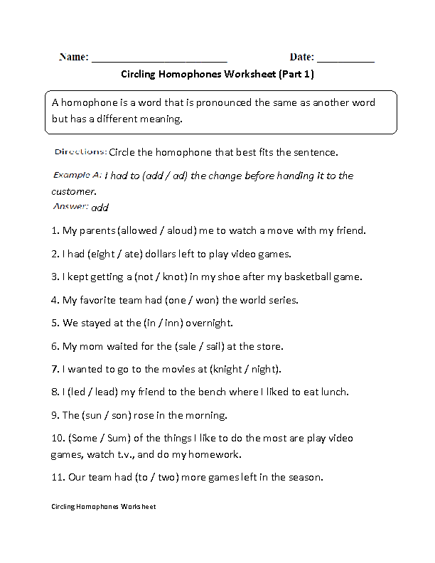 Circling Homophone Worksheet Part 1