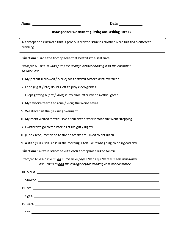 Englishlinx – Homophone Worksheet