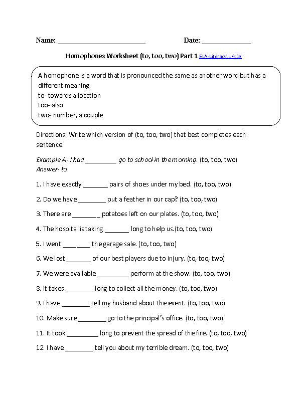 English Worksheets printable english worksheets for grade 1 : 4th Grade Common Core | Language Worksheets