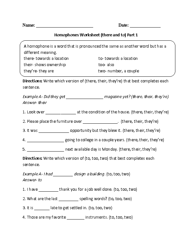 Printable Worksheets grammar worksheets for second grade : Englishlinx.com | Homophones Worksheets