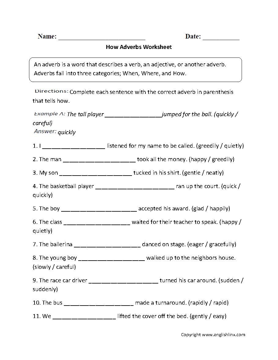Parts Speech Worksheets – Adverbs Worksheet