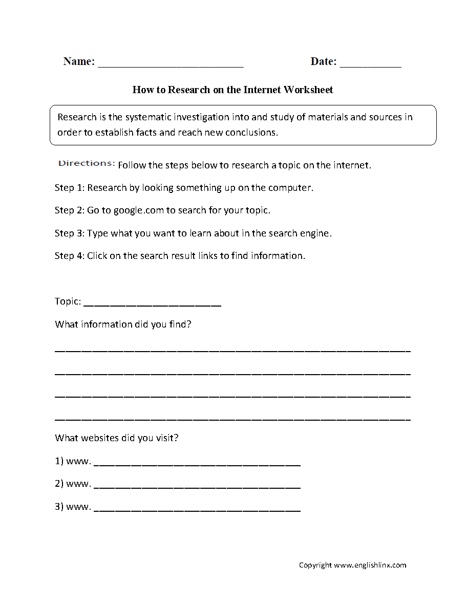 Workbooks order of events worksheets : Englishlinx.com | Research Worksheets