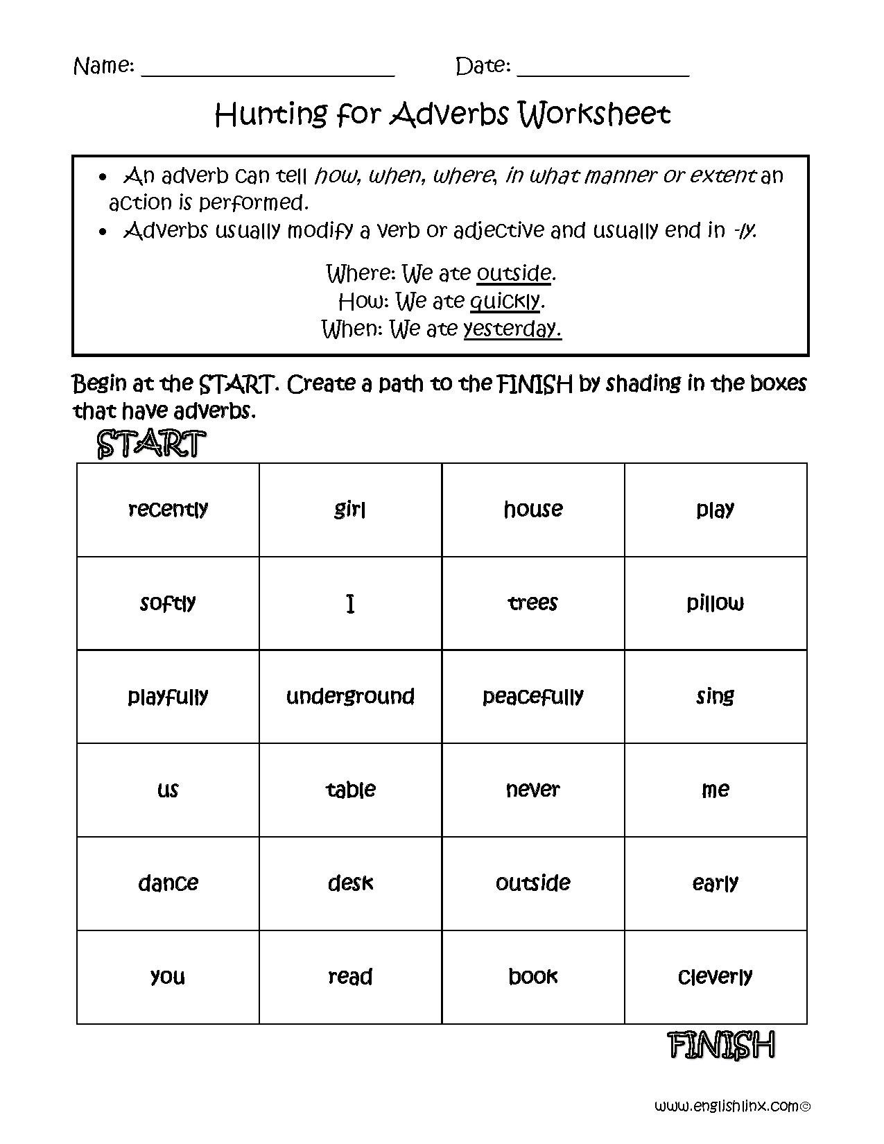 7th Grade Adverbs Worksheets : Adverbs worksheets regular