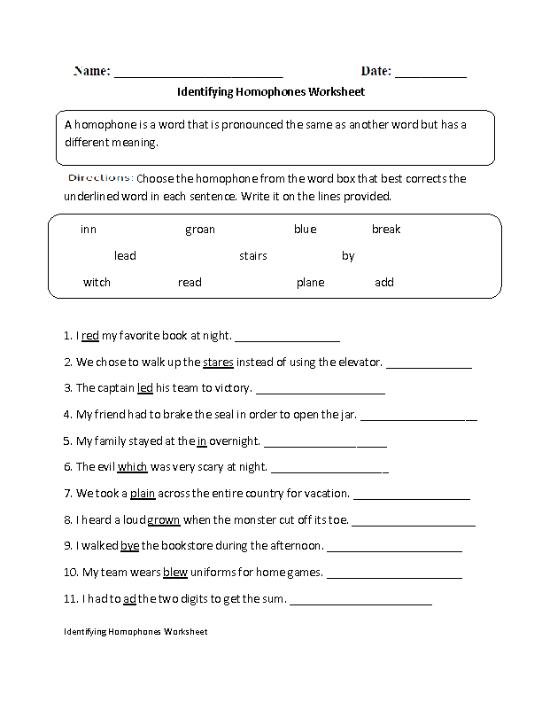 Homophones Worksheets | Identifying Homophones Worksheet