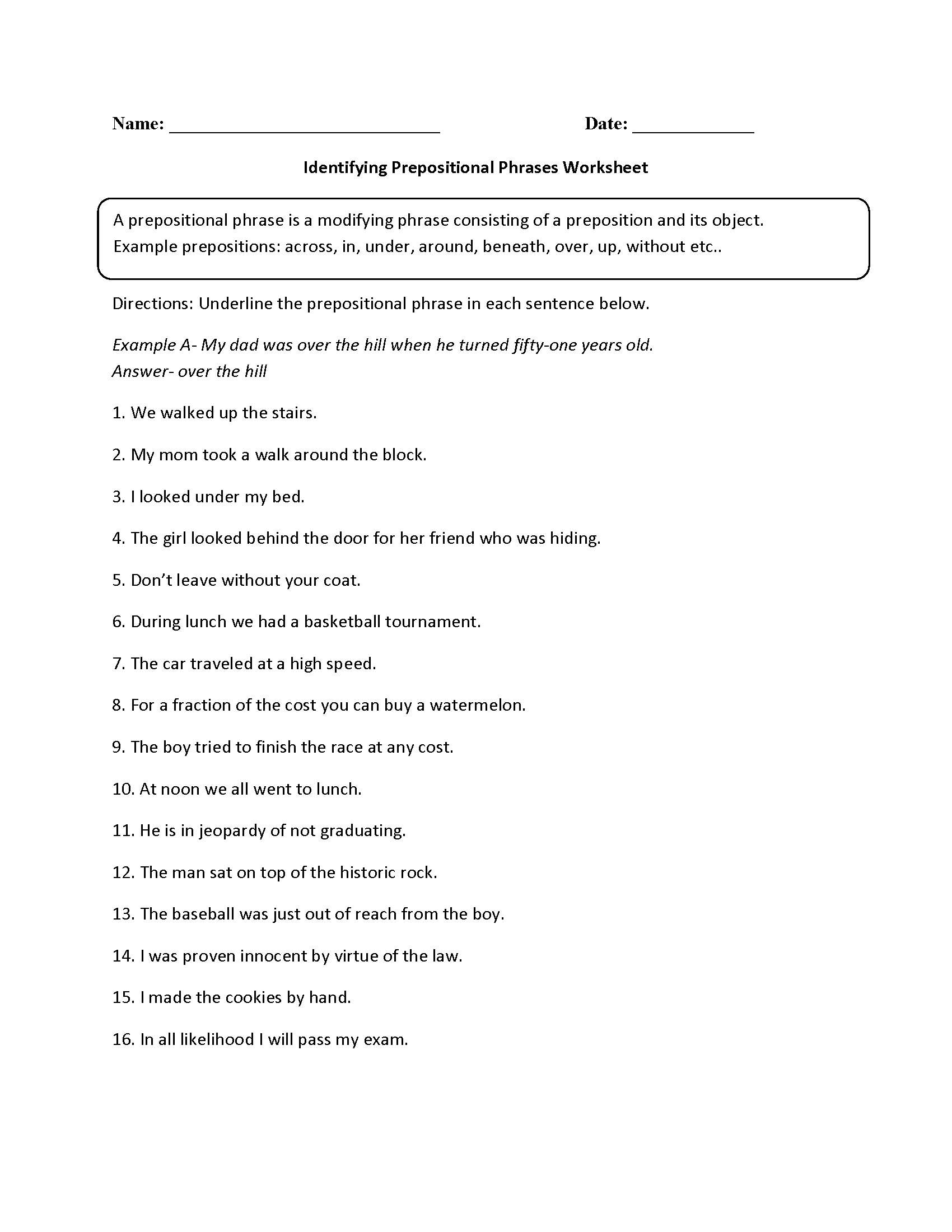 Printables Prepositional Phrases Worksheet parts of a sentence worksheets prepositional phrase identifying phrases worksheet