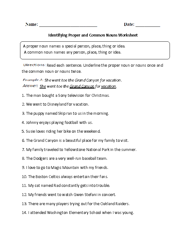 Printable Worksheets reconciliation worksheets : Proper and Common Nouns Worksheets | Identifying Proper and Common ...