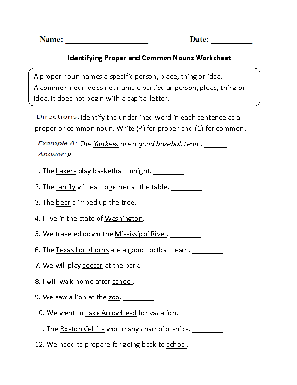 Nouns Worksheets | Proper and Common Nouns Worksheets
