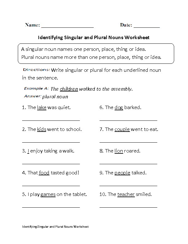 Nouns Worksheets Singular And Plural Nouns Worksheets