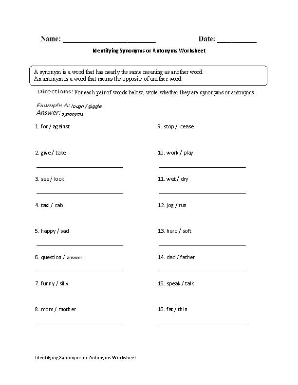 5th Grade synonym worksheets for 5th grade : Englishlinx.com   Synonyms Worksheets