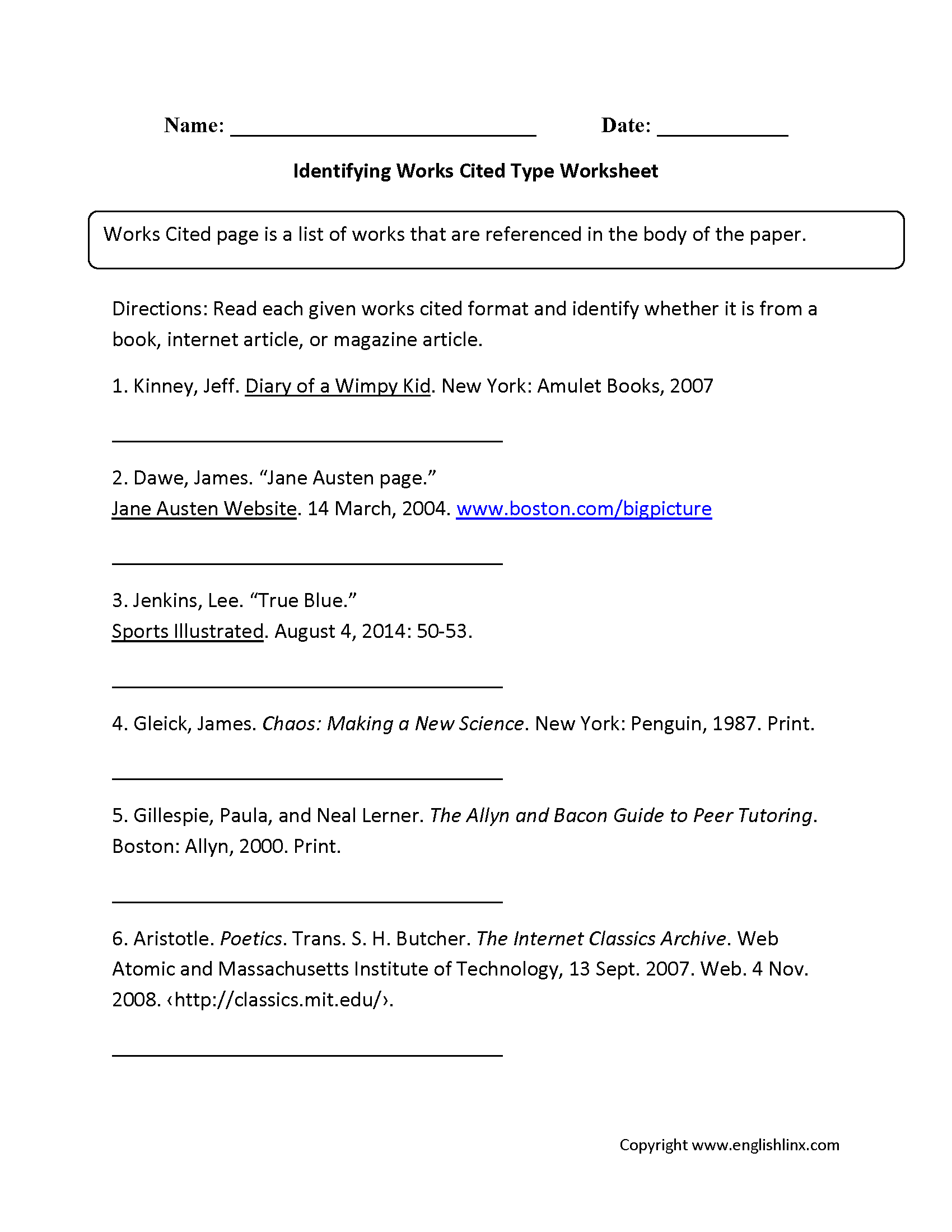 worksheet Citation Worksheet englishlinx com works cited worksheets worksheets