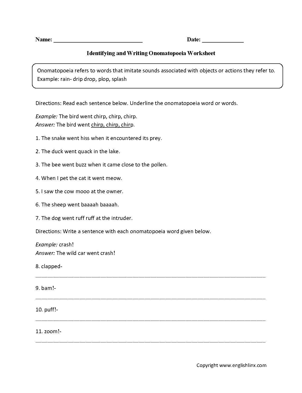 Free Worksheet Interjections Worksheet englishlinx com onomatopoeia worksheets grades 9 12 worksheets