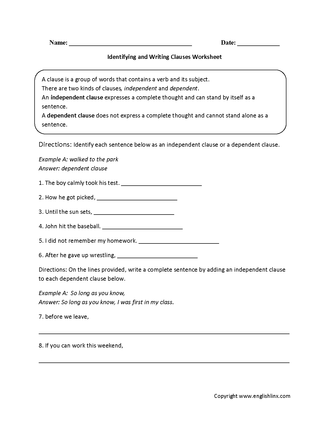 Worksheets Independent And Dependent Clauses Worksheets englishlinx com clauses worksheets identifying and writing worksheet