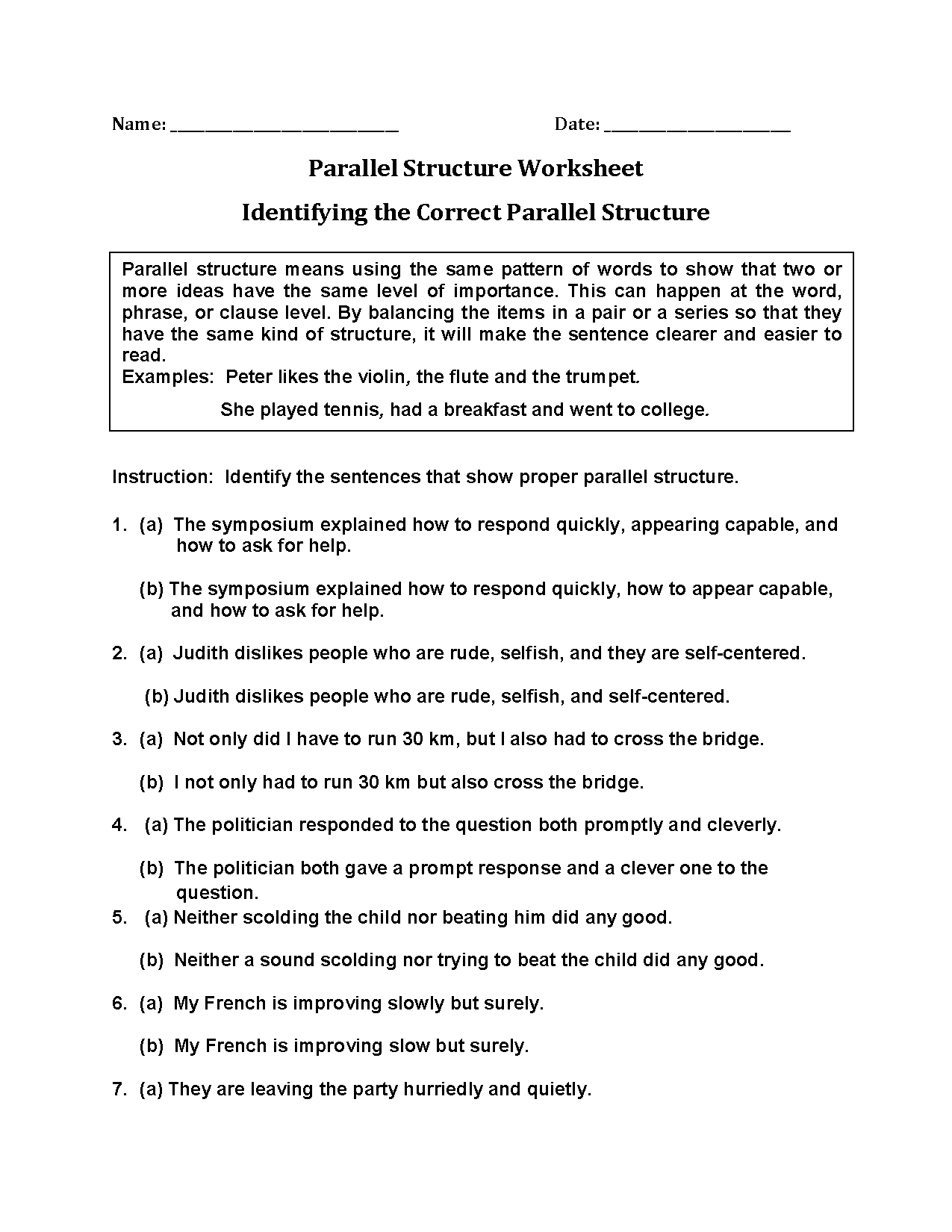Parallel Sentence Structure Worksheet Worksheets for all ...