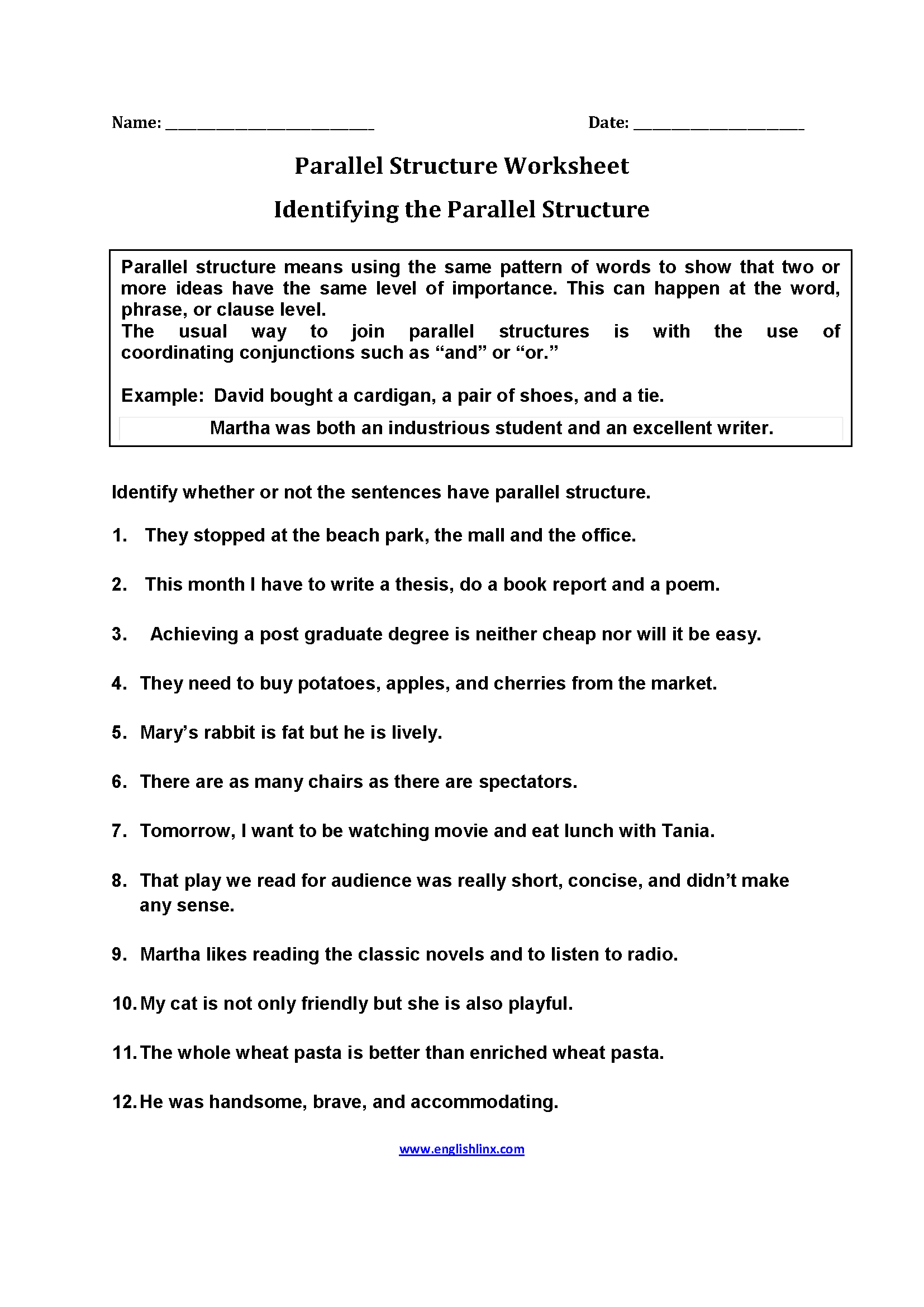 Worksheet Parallel Structure Worksheet englishlinx com parallel structure worksheets worksheets