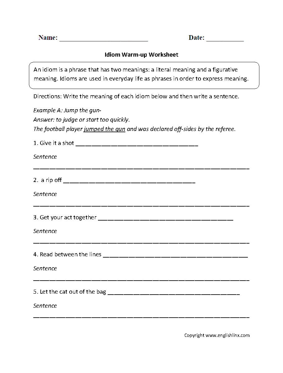 Idioms Worksheet | Worksheets, Language arts and Teaching vocabulary