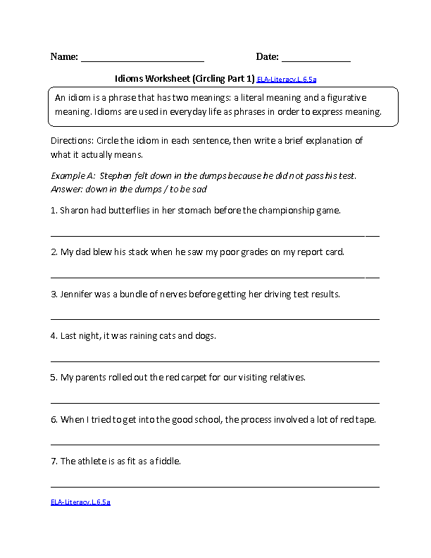 6th Grade Common Core – Idiom Worksheets 4th Grade