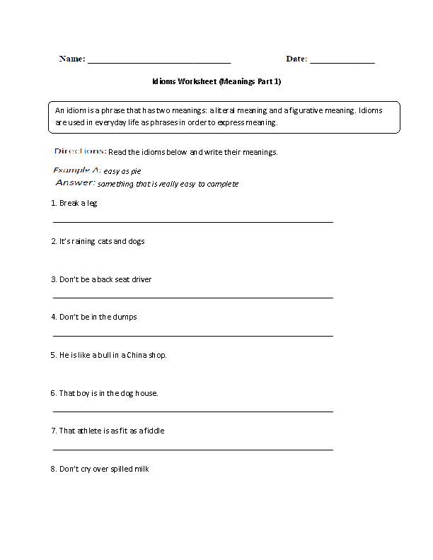 Printable Worksheets worksheets on idioms : Englishlinx.com | Idioms Worksheets