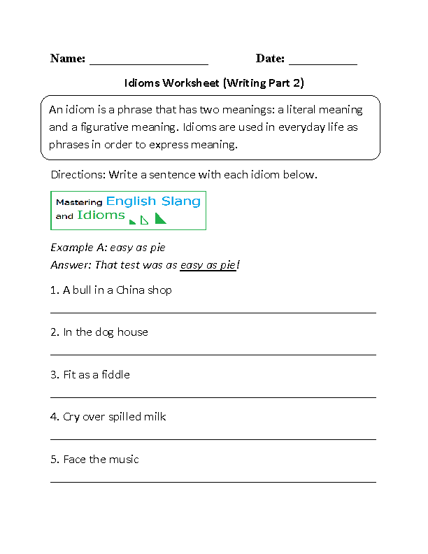 Printables Figures Of Speech Worksheet englishlinx com figures of speech worksheets idioms worksheet writing part 2 beginner