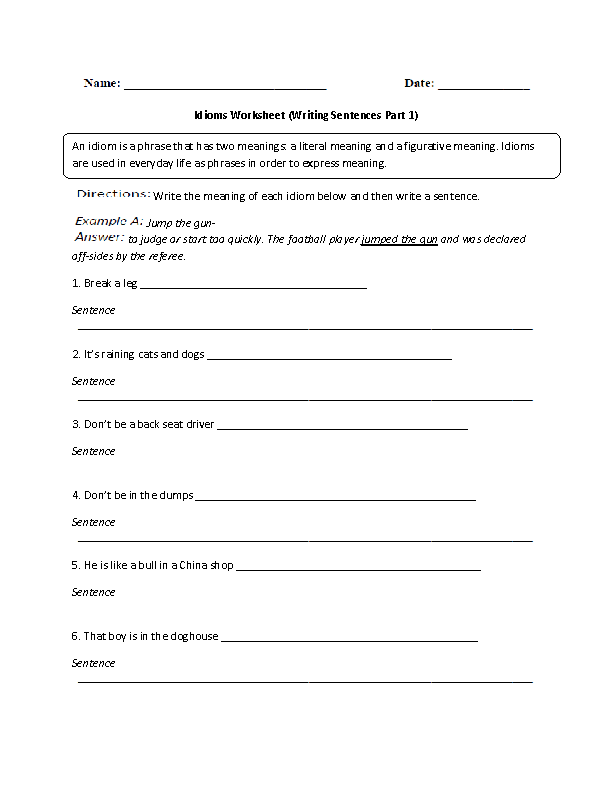 Idioms Worksheets – Idioms Worksheets