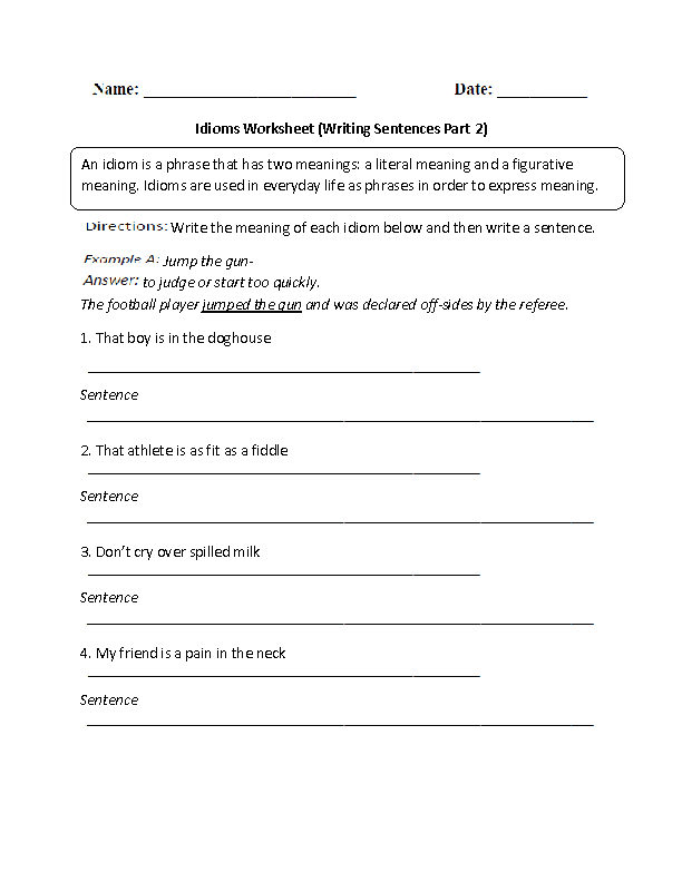 Writing Sentences Idioms Worksheet Part 2