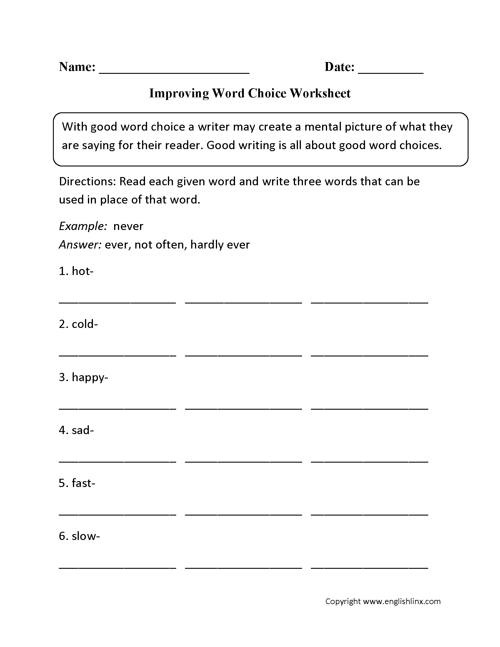 English worksheets: word choice