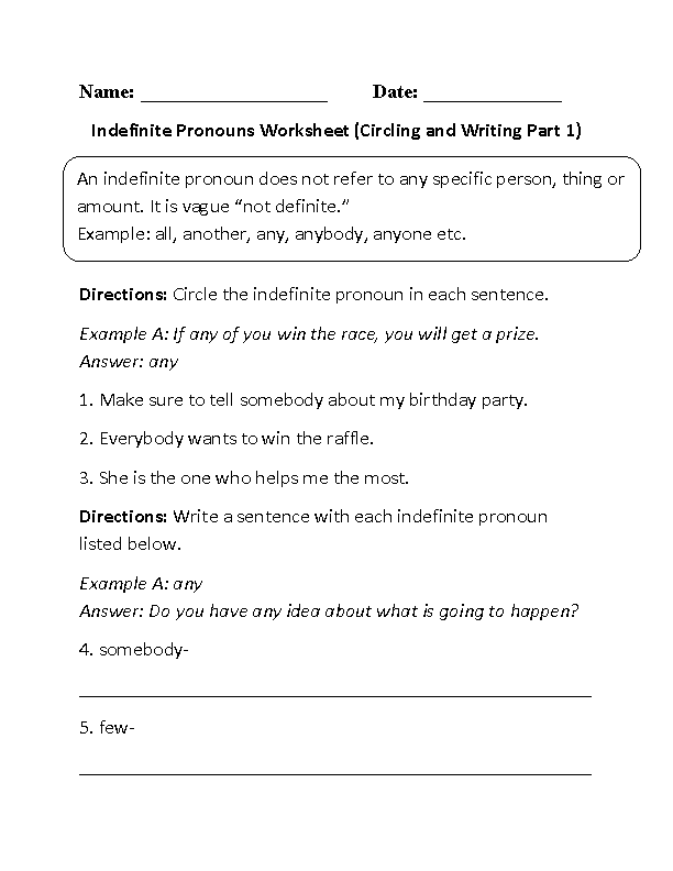 Indefinite Pronouns Worksheets – Indefinite Pronoun Worksheet