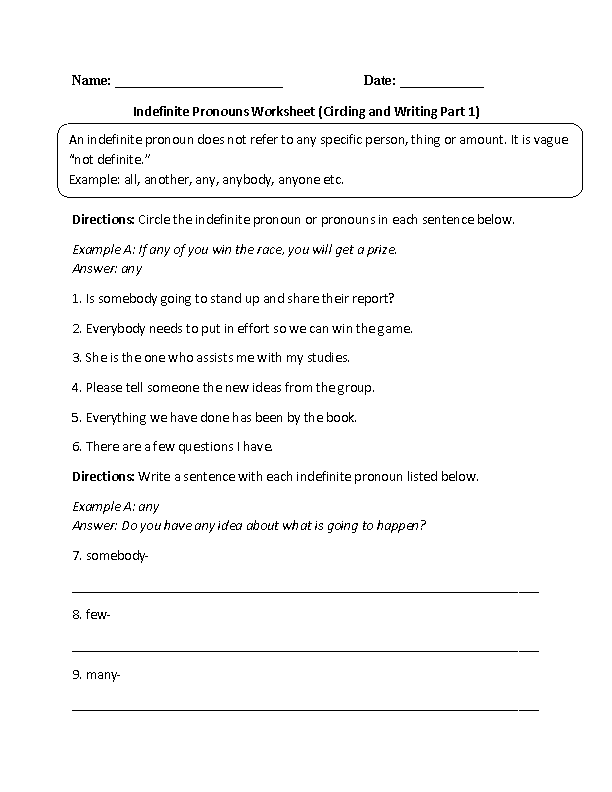 ... Pronouns Worksheets | Indefinite Pronouns Practice Worksheet