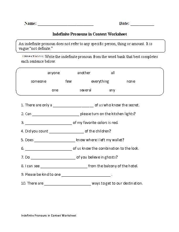 Pronouns Worksheets – Indefinite Pronoun Worksheet