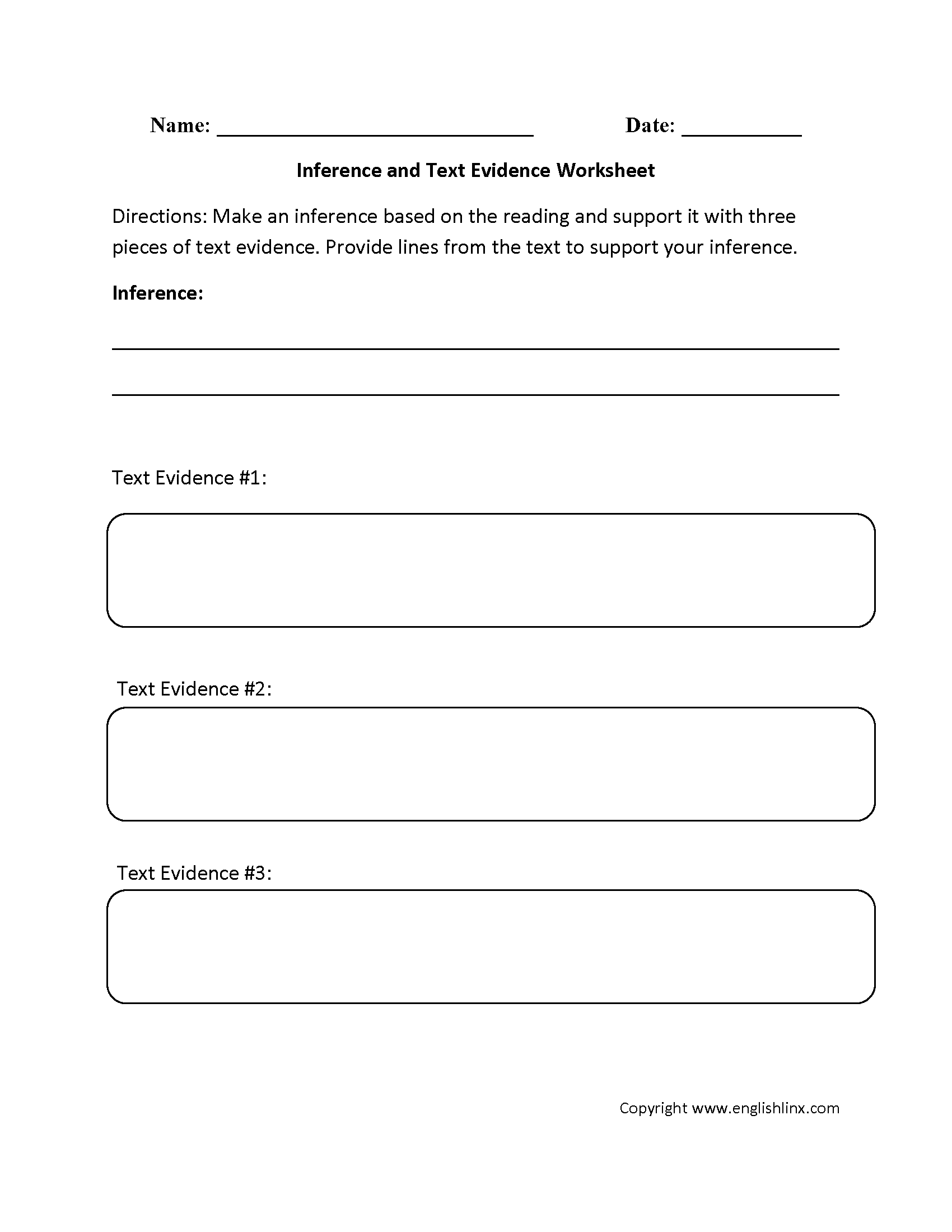 Englishlinx.com | Text Evidence Worksheets