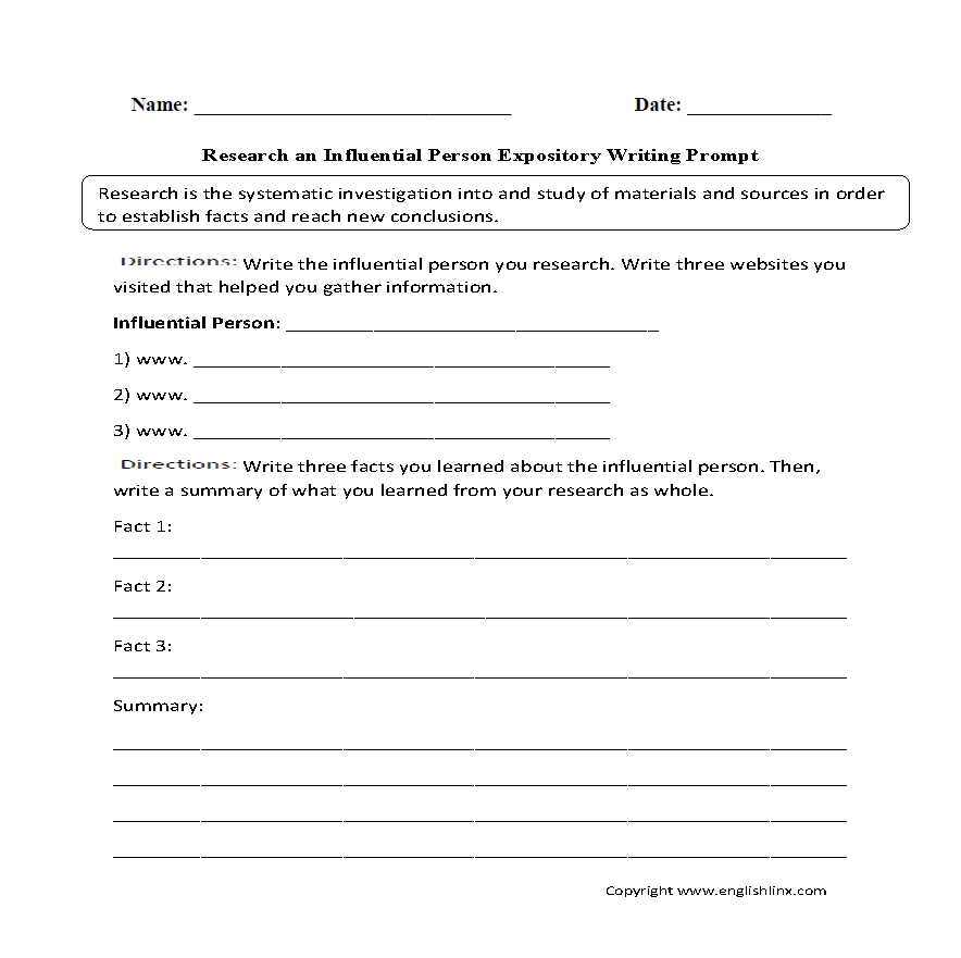 writing prompts worksheets informative and expository writing  expository writing prompt worksheet