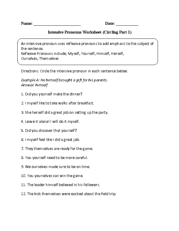 Worksheets Reflexive And Intensive Pronouns Worksheet pronouns worksheets intensive worksheet