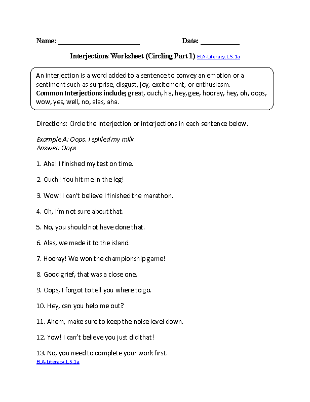 5th Grade Common Core – English Worksheets for Grade 5