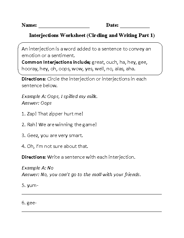 Worksheets Interjection Worksheets englishlinx com interjections worksheets worksheet circling and writing