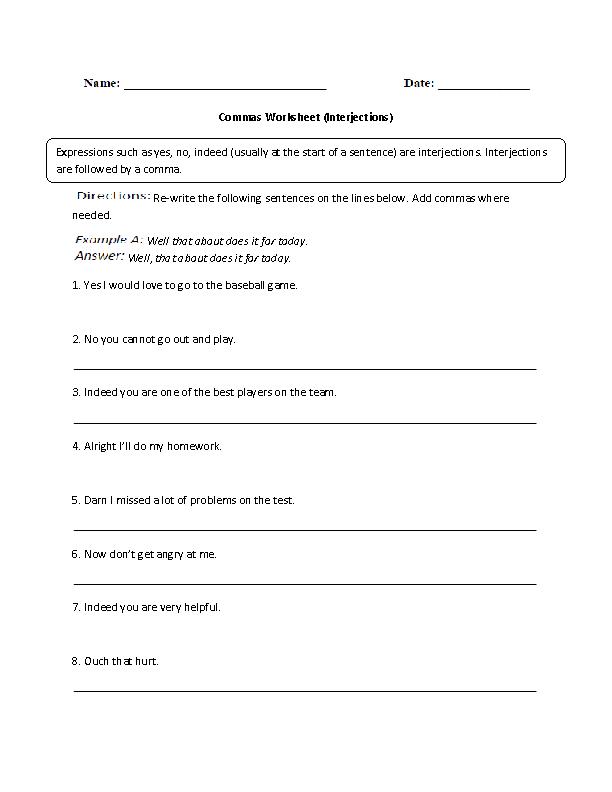 Commas Worksheets – Interjection Worksheet