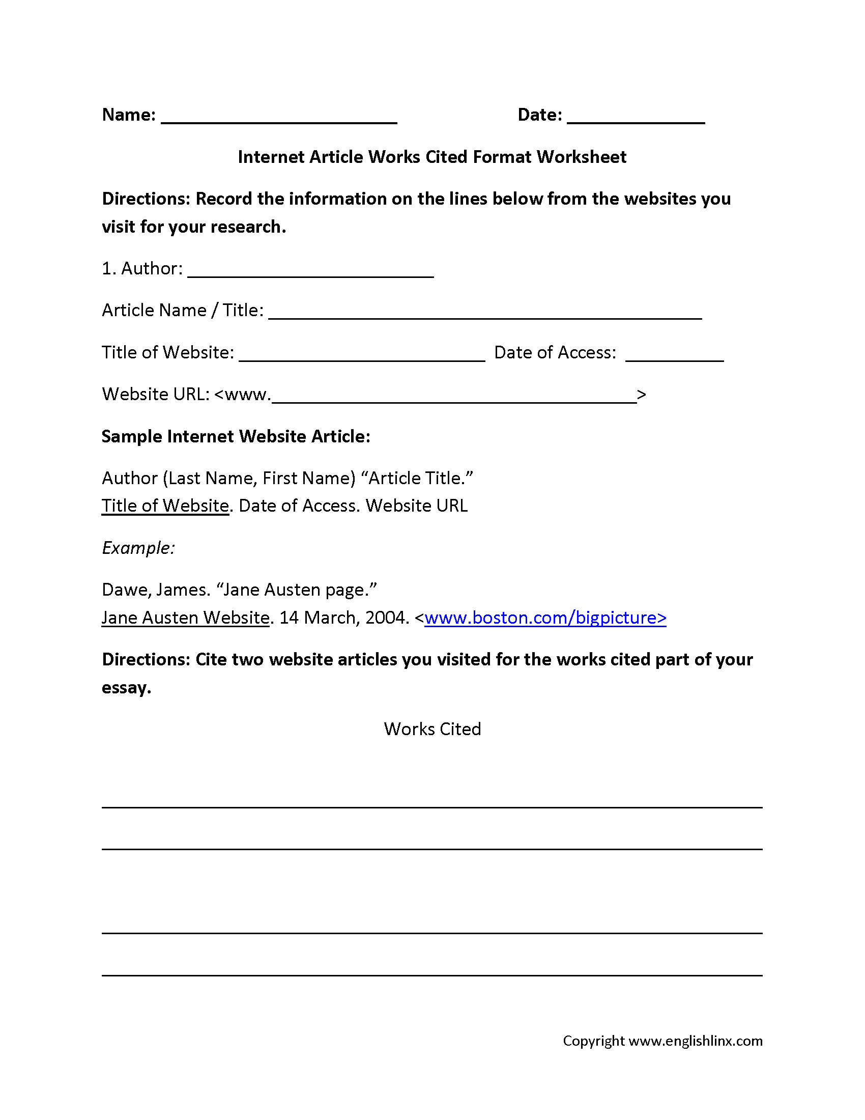 englishlinx com works cited worksheets grades 6 12 works cited worksheets