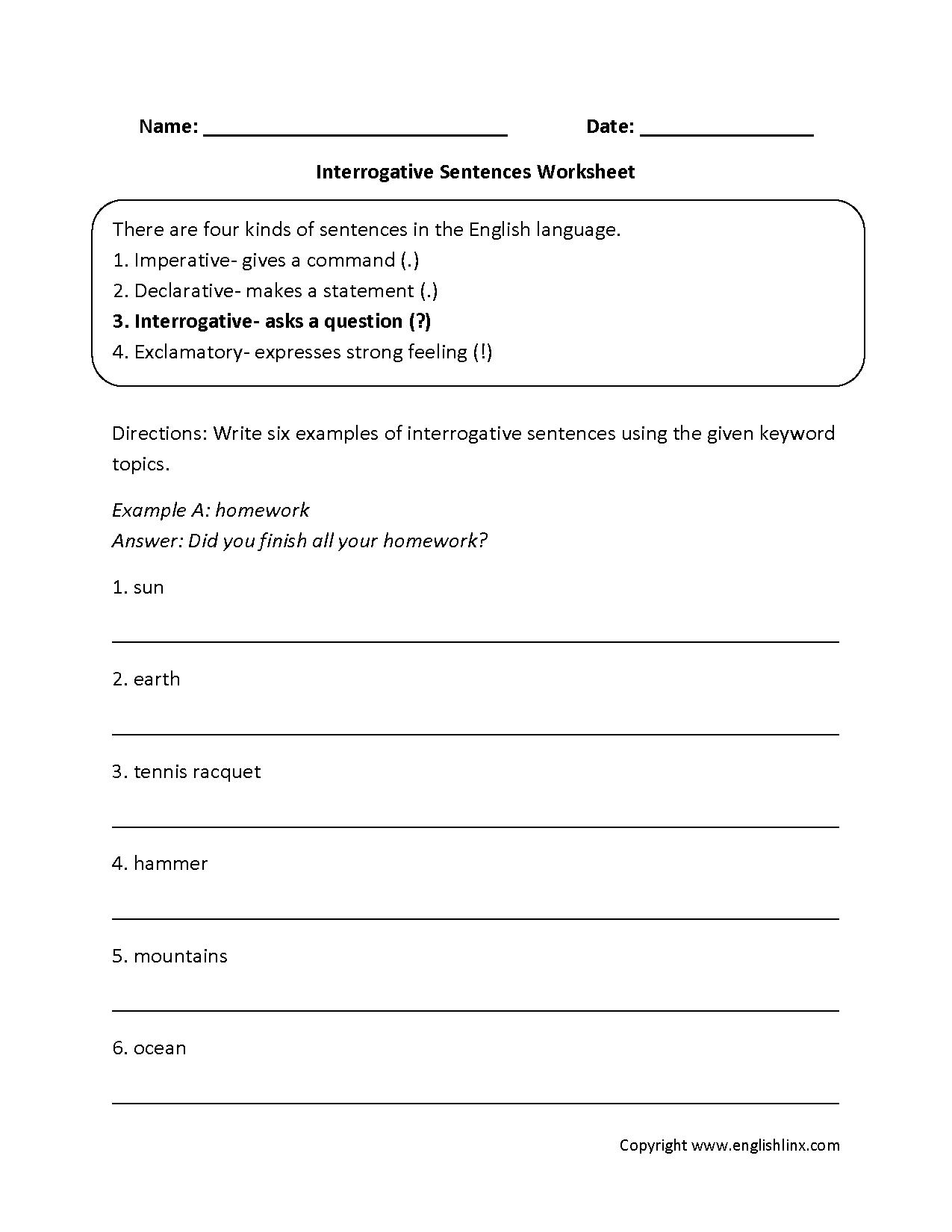 types of sentences worksheets interrogative types of sentences worksheets. Black Bedroom Furniture Sets. Home Design Ideas