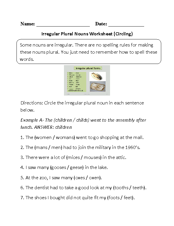 Printables Nouns Worksheet englishlinx com nouns worksheets irregular worksheets