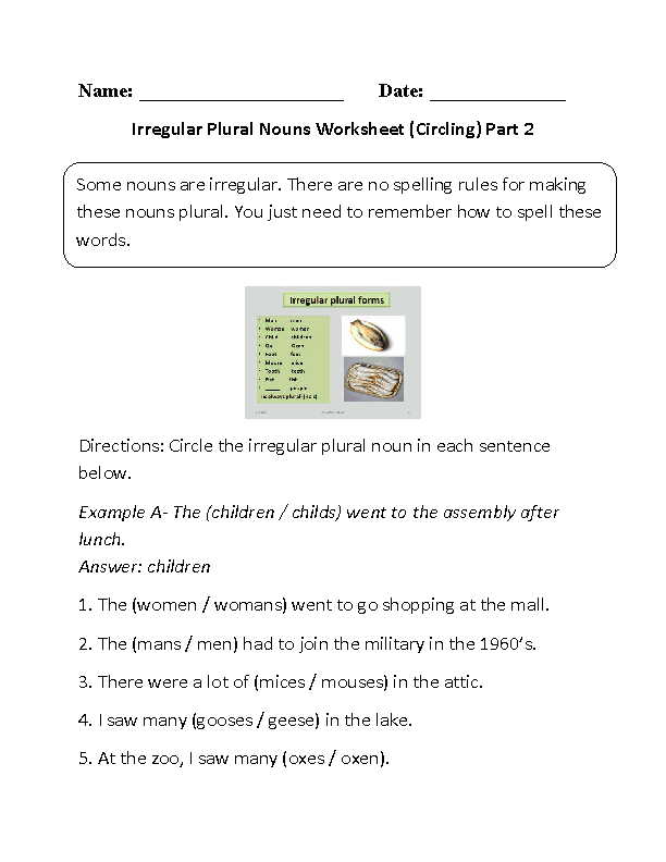 Printables Irregular Plural Nouns Worksheets nouns worksheets irregular fun with worksheet