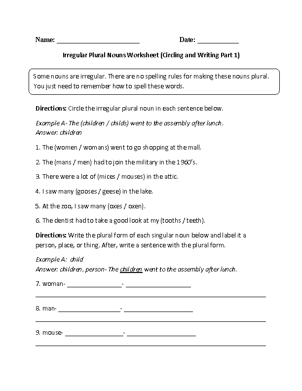 Nouns Worksheets – Irregular Plural Nouns Worksheet