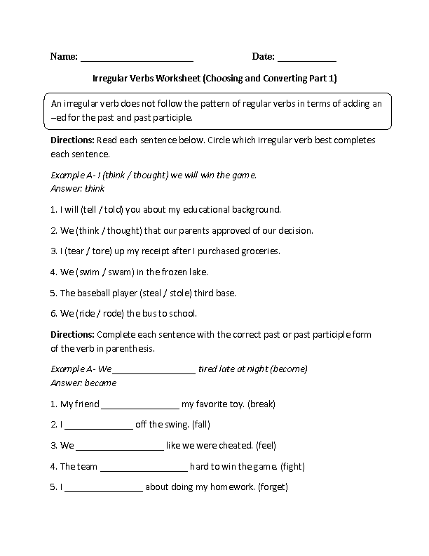 Printables Verb Worksheets 5th Grade englishlinx com verbs worksheets irregular worksheets