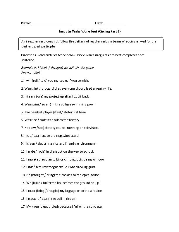 Printable Worksheets free irregular verb worksheets : Verbs Worksheets   Irregular Verbs Worksheets
