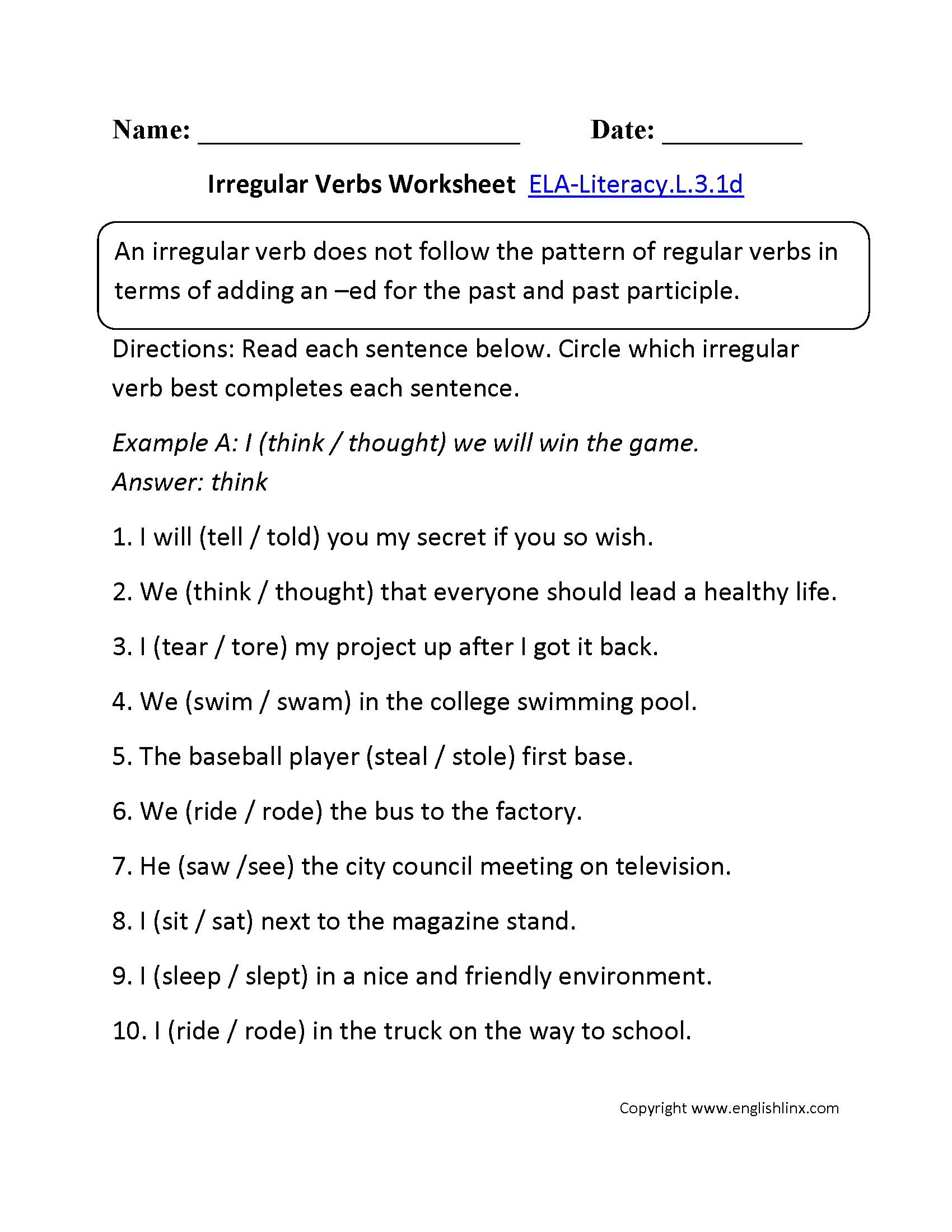 Worksheets Verb Worksheets 3rd Grade 3rd grade common core language worksheets irregular verbs worksheet 1 ela literacy l 3 1d worksheet